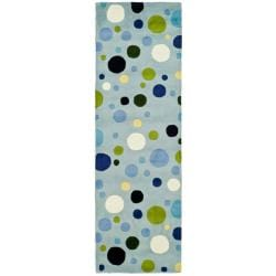Safavieh Handmade Bubblegum Light Blue/ Multi N. Z. Wool Runner (2'6 x 6')