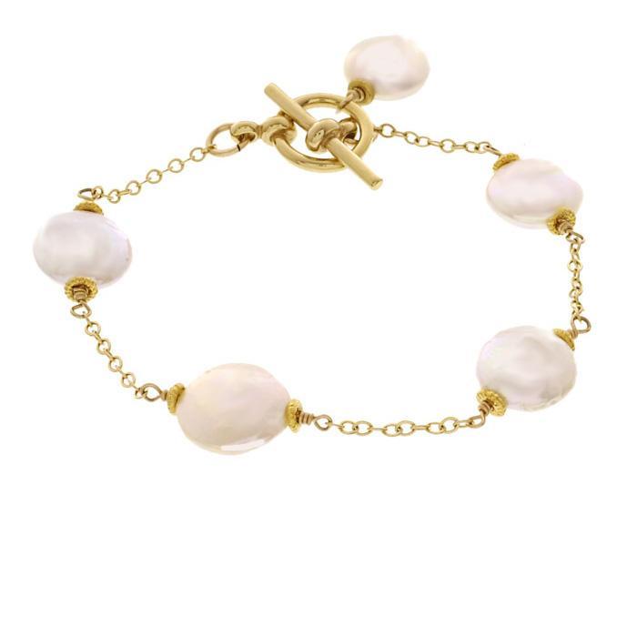 Misha Curtis White Coin Pearl 14k Goldfill Bracelet