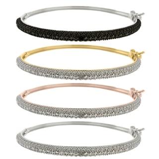 Finesque Sterling Silver Diamond Accent Bangle Bracelet