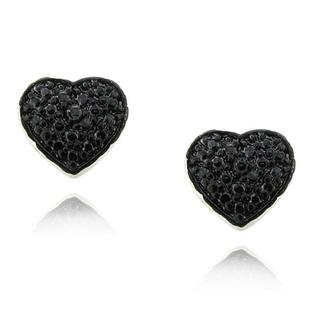 Finesque Sterling Silver Black Diamond Accent Heart Earrings