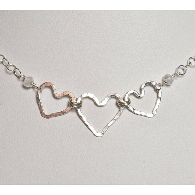 AEB Design Sterling Silver Rainbow Moonstone Triple Heart Necklace