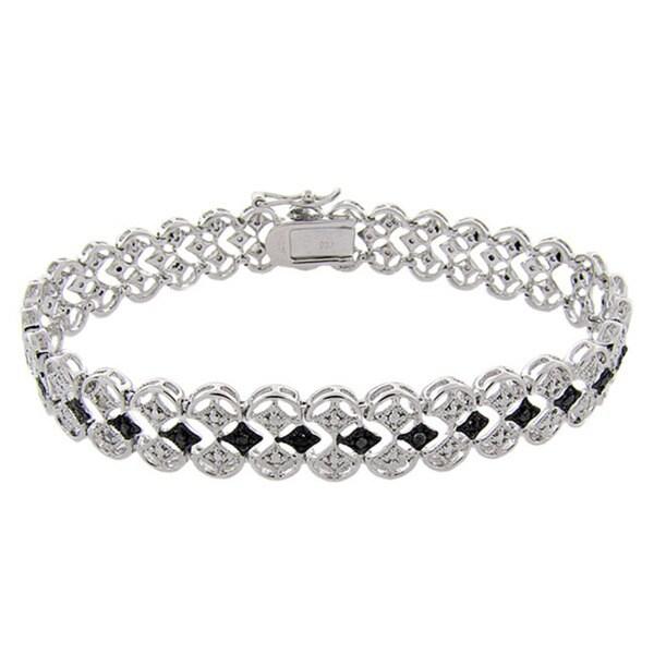 Finesque Sterling Silver 1/10ct TDW Black and White Diamond Filigree Bracelet