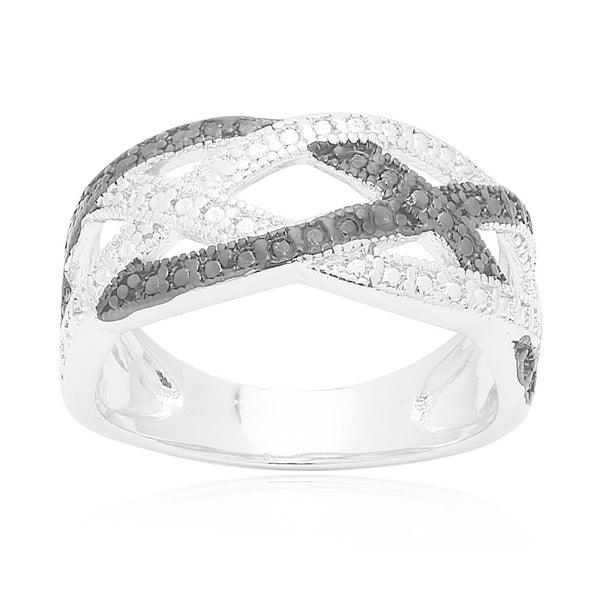 Finesque Sterling Silver Diamond Accent Braided Design Ring