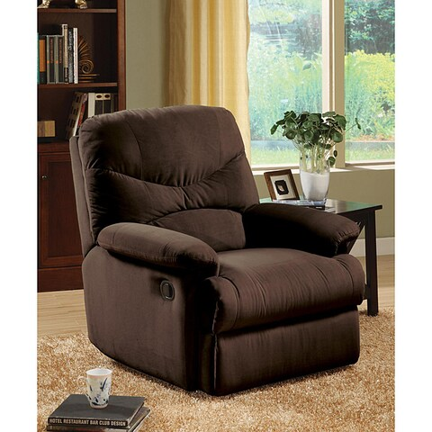 Plush Chocolate Microfiber Recliner Chair
