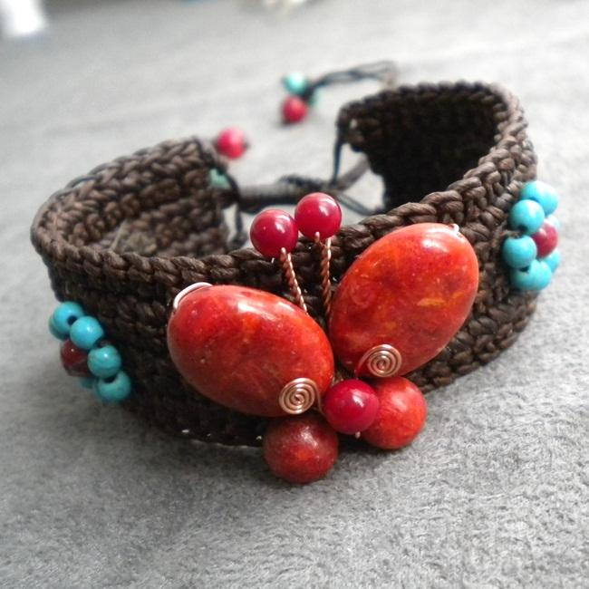 Organic Coral and Turquoise Butterfly Cuff Bracelet (Thailand)