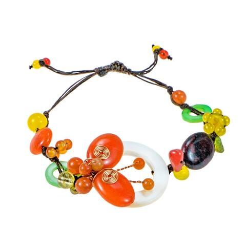 Handmade Pretty Little Butterfly Stone Shell Pull Bracelet (Thailand)