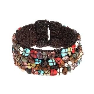 Handmade Cotton Rope Mosaic Gemstone Expandable Cuff/ Bracelet (Thailand)