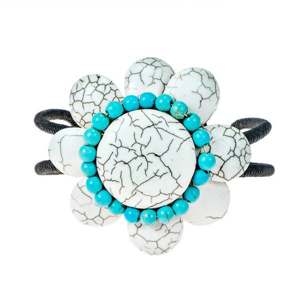 Handmade Cotton Rope White/ Blue/ Red Turquoise 8-petal Flower Cuff (Thailand)