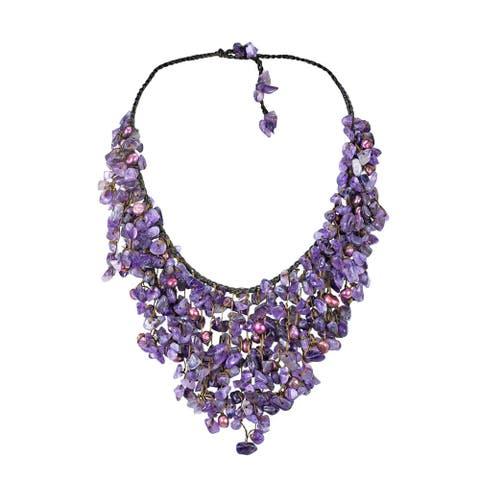 Handmade Purple Amethyst Chandelier V-shape Necklace (Thailand)