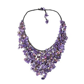Handmade Amethyst and Pearl Chandelier Necklace (5-7 mm) (Thailand)