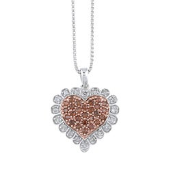 Sterling Silver 1/2ct TDW Red Diamond Heart Necklace
