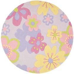 Safavieh Handmade Children's Daisies Violet N. Z. Wool Rug (4' Round)