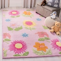 Safavieh Handmade Children's Paisley Pink New Zealand Wool Rug - 6' x 9'