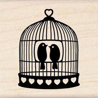 Inkadinkado Heart Bird Cage Wood Mounted Rubber Stamp