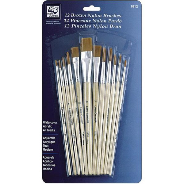 Brown Nylon Brush Set (Pack of 12)