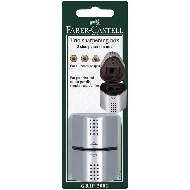 Faber-Castell Steel Trio Sharpening Box with Shavings Storage