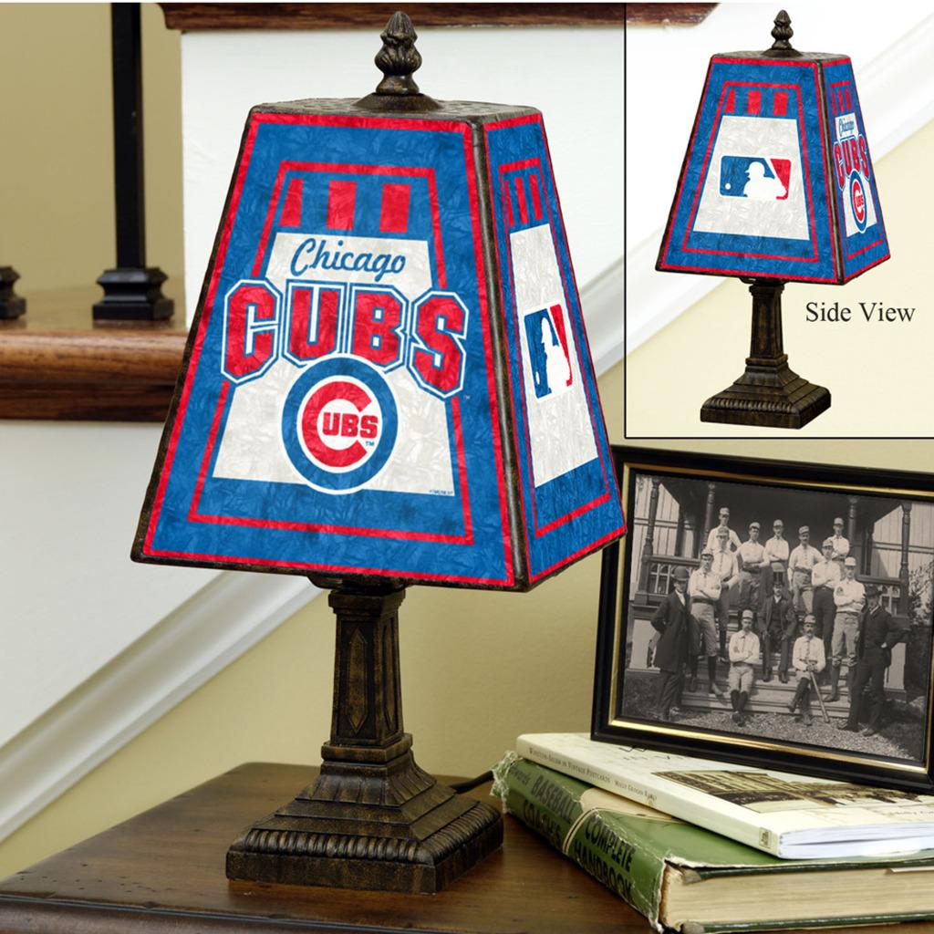 Chicago Cubs 14-inch Art Glass Lamp - Thumbnail 0
