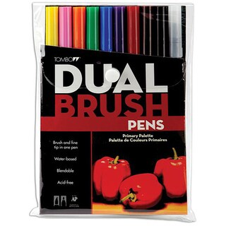 Tombow Primary Dual Brush Pen Set (Pack of 10)