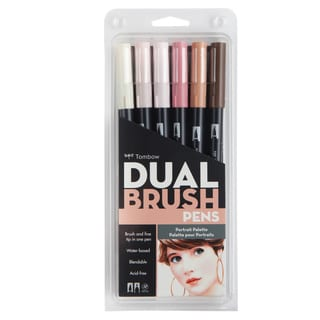 Tombow Portrait Dual Brush Pen Set (Pack of 6)