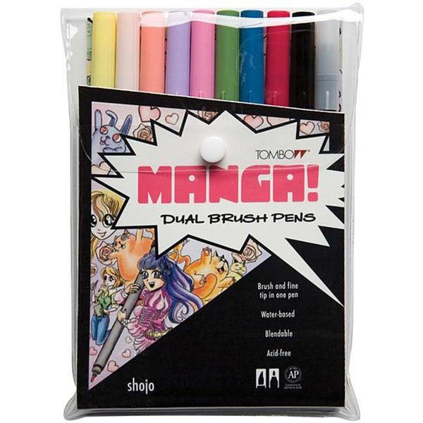 Tombow Manga Shojo Dual Brush Pen Set (Pack of 10)