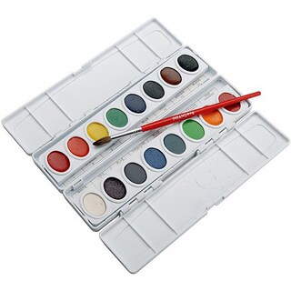 Prang 16-Color Oval Pan Watercolor Paint Palette (Pack of 1)