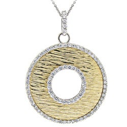 Icz Stonez Two-tone Silver Cubic Zirconia Disk Necklace