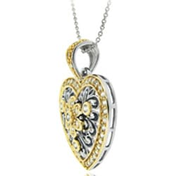 Icz Stonez Two-tone Silver Cubic Zirconia Floral Heart Necklace - Thumbnail 1