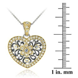Icz Stonez Two-tone Silver Cubic Zirconia Floral Heart Necklace - Thumbnail 2