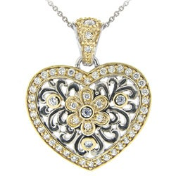 Icz Stonez Two-tone Silver Cubic Zirconia Floral Heart Necklace - Thumbnail 0