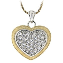 Icz Stonez Two-tone Silver Cubic Zirconia Heart Necklace