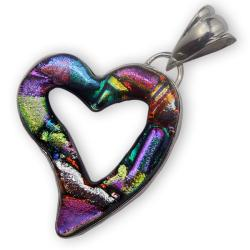 Sterling Silver and Dichroic Glass Cut-out Heart Pendant (Mexico)