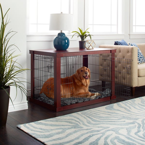 wooden pet crate and side table by merry products - Dog Crate Side Tables