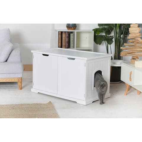 Merry Products White Cat Litter Box Enclosure and Bench