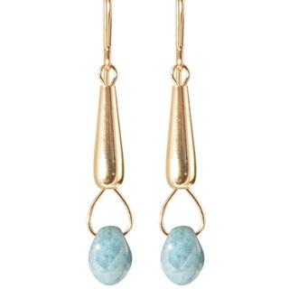 14k Gold Fill 'Cyan Luster drops of Mist' Glass Bead Dangle Earrings