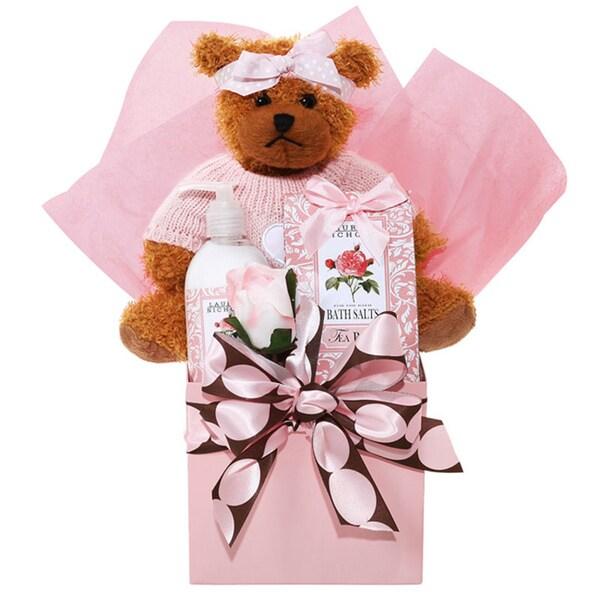 Pretty in Pink Spa Gift Basket w/Bath Salts, Lotion, and Stuffed Bear