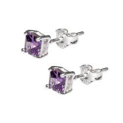 Sterling Silver Princess-cut Purple Cubic Zirconia Stud Earrings