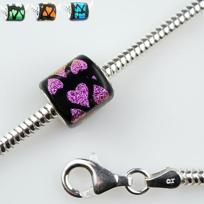Handmade Sterling Silver Dichroic Glass Bead Heart Bracelet (Mexico)