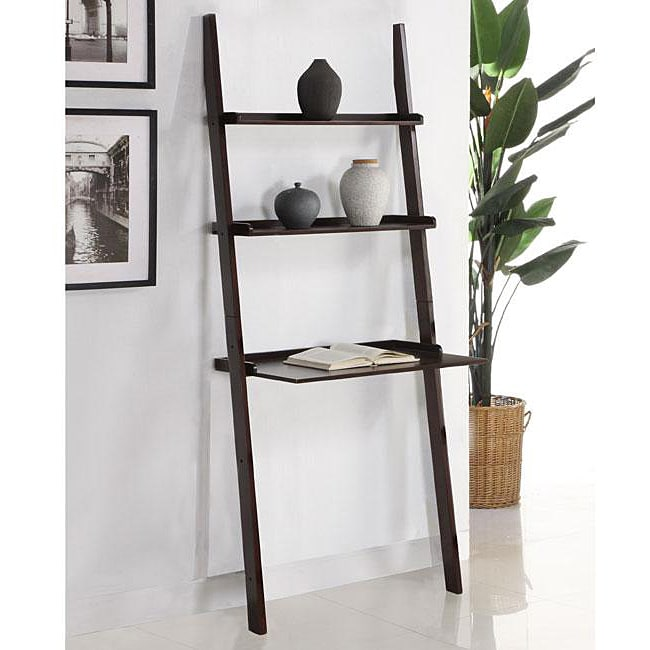 Walnut 3 Tier Leaning Laptop Shelf Free Shipping Today