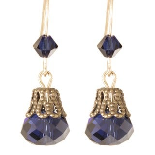'Breathtaking Blues in Lace' 14k Gold Fill Crystal Earrings