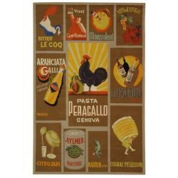 Safavieh Hand-hooked Vintage Poster Mocha Wool Rug (5'3 x 8'3)
