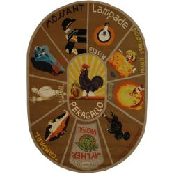 Safavieh Hand-hooked Vintage Poster Mocha Wool Rug (4'6 x 6'6 Oval)