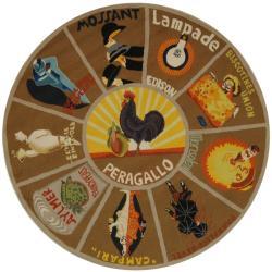 Safavieh Hand-hooked Vintage Poster Mocha Wool Rug (5'6 Round)