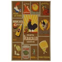Safavieh Hand-hooked Vintage Poster Mocha Wool Rug (6' x 9')
