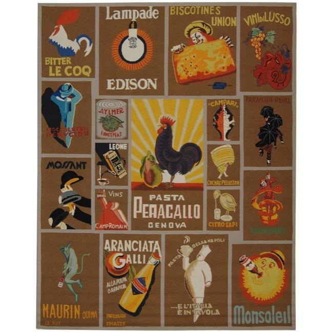 Safavieh Hand-hooked Vintage Poster Mocha Wool Rug - 7'9 x 9'9
