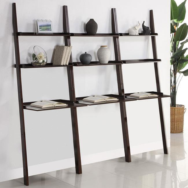 Walnut 3-piece Leaning Laptop Shelf Set