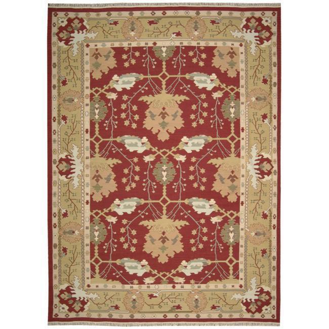 Nourison Samarkand Flatweave Reversible Burgundy Wool Rug (9'9 x 13'9)