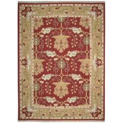 Nourison Samarkand Flatweave Reversible Burgundy Wool Rug (9'9 x 13'9) - Thumbnail 1