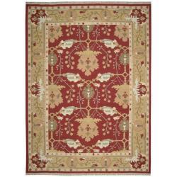 Nourison Samarkand Flatweave Reversible Burgundy Wool Rug (9'9 x 13'9) - Thumbnail 2