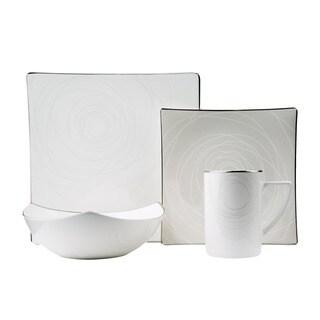 Red Vanilla Orbit 16-piece Bone China Dinnerware Set - White