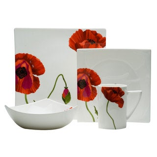 Red Vanilla Summer Sun Bone China 4-piece Dining Set